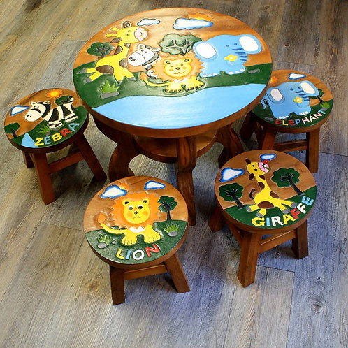 Wooden animal table with four stools