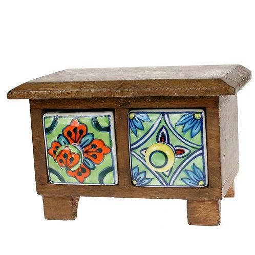 Wooden Mini Chest - 2 ceramic drawers