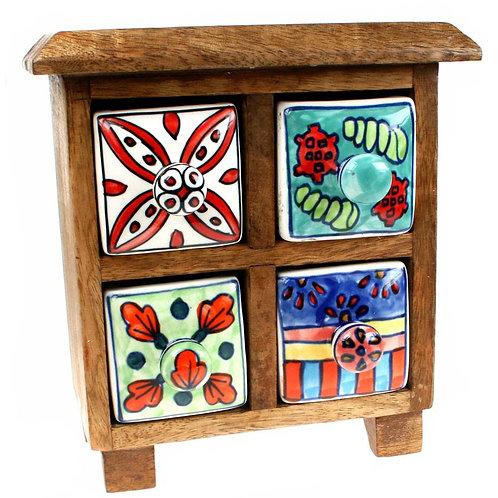 Wooden Mini Chest - 4 Ceramic Drawers