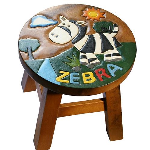 Zebra stool with zebra text