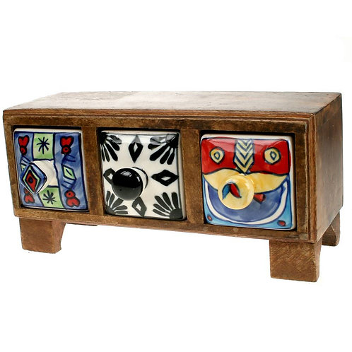 Wooden Mini Chest - 3 Ceramic Drawers