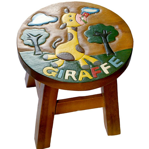 Giraffe stool with text