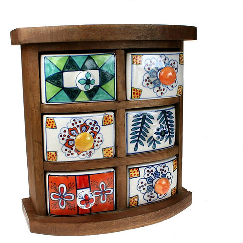 Wooden Mini Chest - 6 Ceramic Drawers