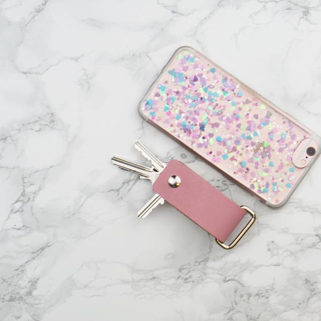 roze sleutelhanger leer