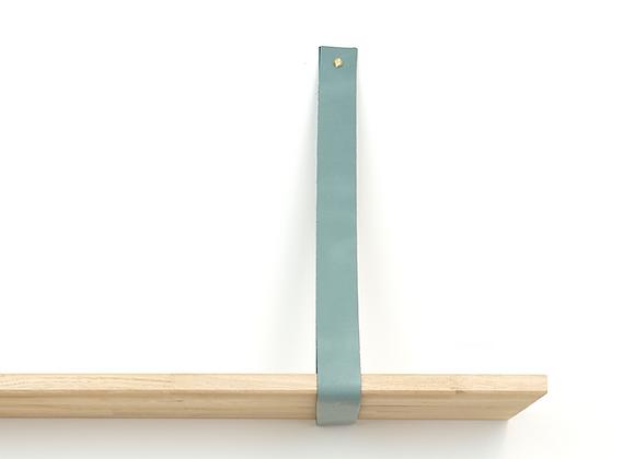 Leren plankendrager grijs/groen (set)