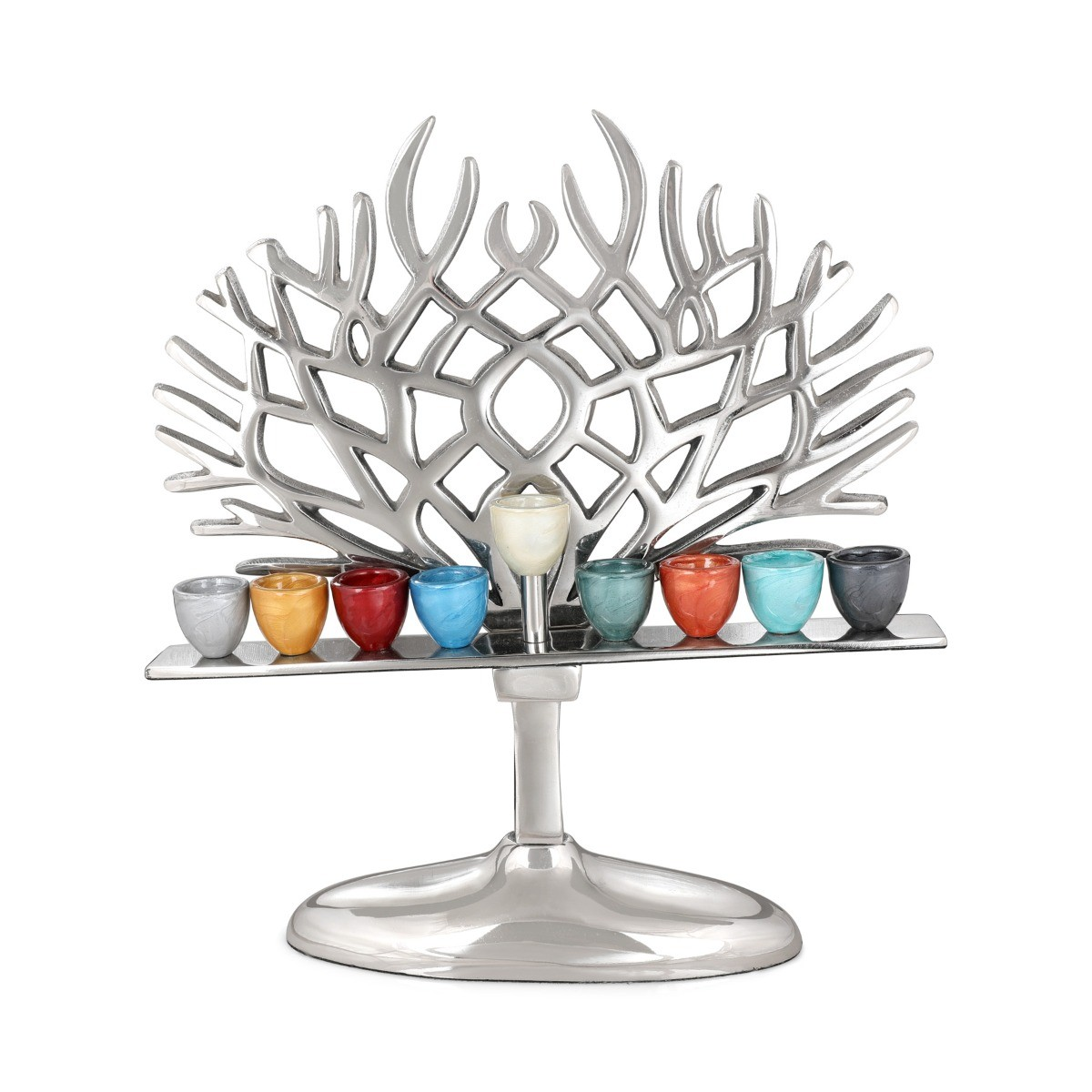 Aluminum Tree of Life Hanukkah Menorah w