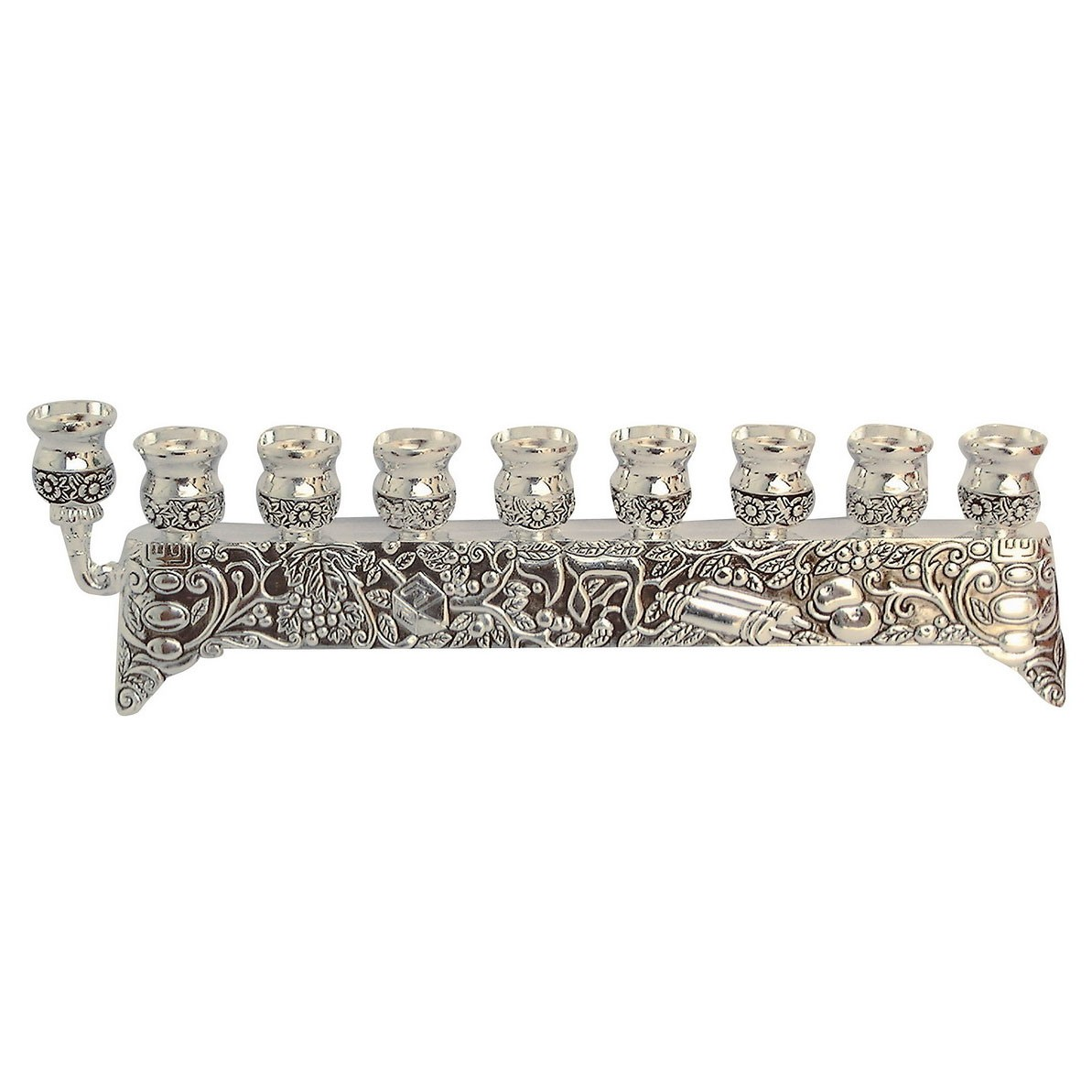 Silver-Plated Hanukkah Bar Menorah with Extended Shamash