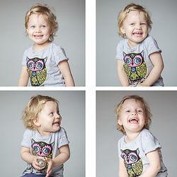 Vier Fotos eines lachenden kleinen Mädchens