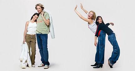 Ganzkörper Portraits von junge Menschen die Spaß haben.