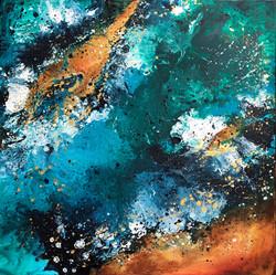 Seascape I by Anna Clarke, 70x70cm, acrylic on canvas
