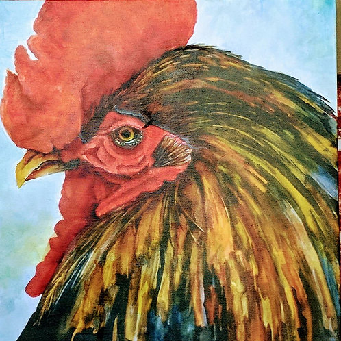 12 X 12  Black rooster