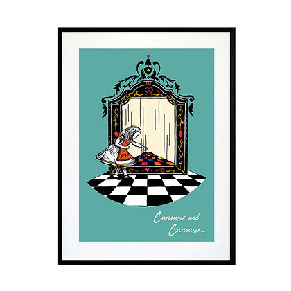 Alice and the Looking Glass - Colour Art Print