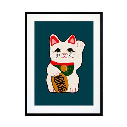 Waving Cat Art Print