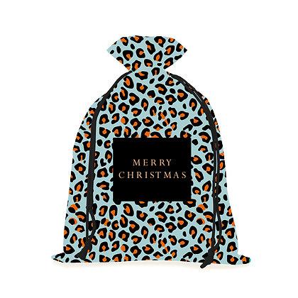 Blue Leopard Christmas Sack