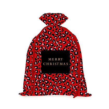 Red Leopard Christmas Sack