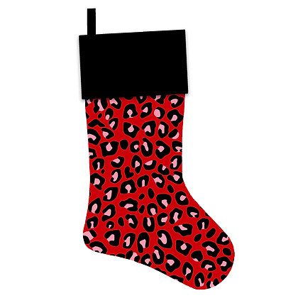 Red Leopard Christmas Stocking