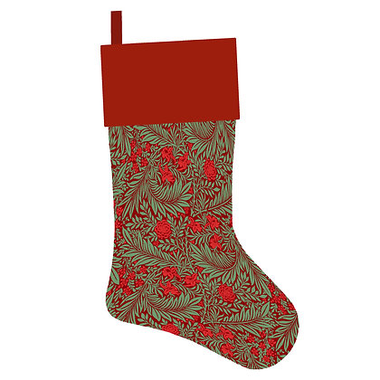 Green Vintage Floral Christmas Stocking
