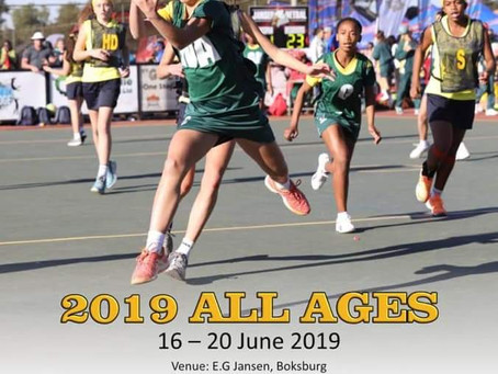 """Suid-Afrikaanse Skole Netbal 2019 se """"All Ages 2019""""-toernooi is baie besig!"""