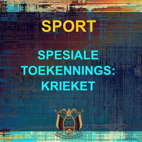 PRYSUITDELING 2019 -SPORT - KRIEKET