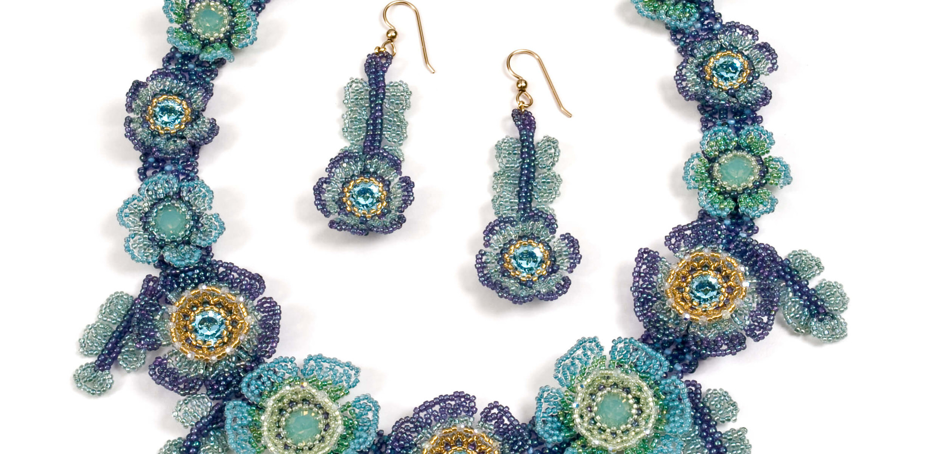 Flowers of The Field in Metallic Blue and Pacific Opal