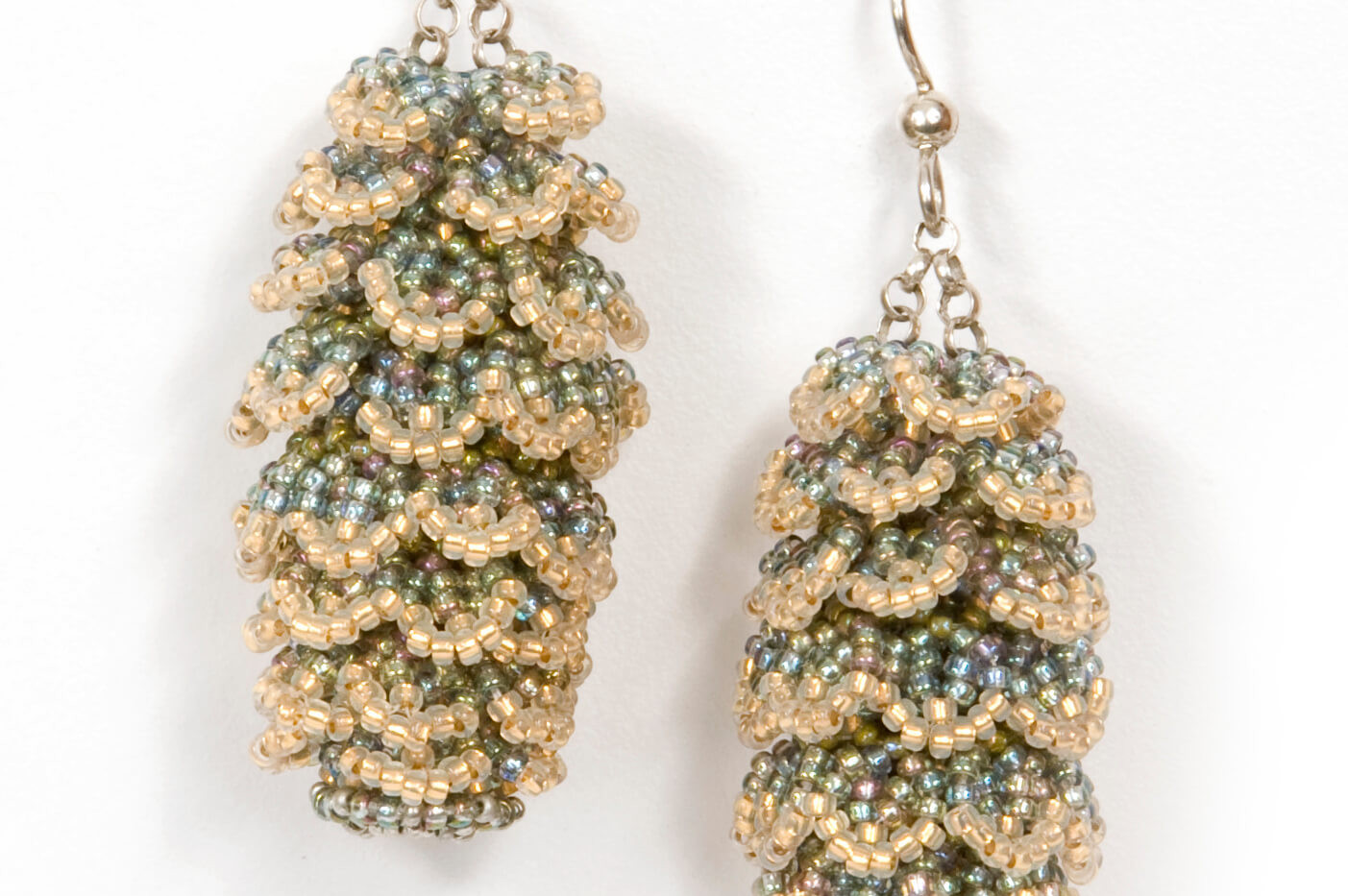 Pining Earrings in Light Blue and Green