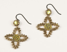Quatrafoil Pewter Peridot Earrings.jpg