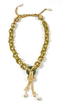 Labyrinth Necklace by Melanie Potter in Green & Gold