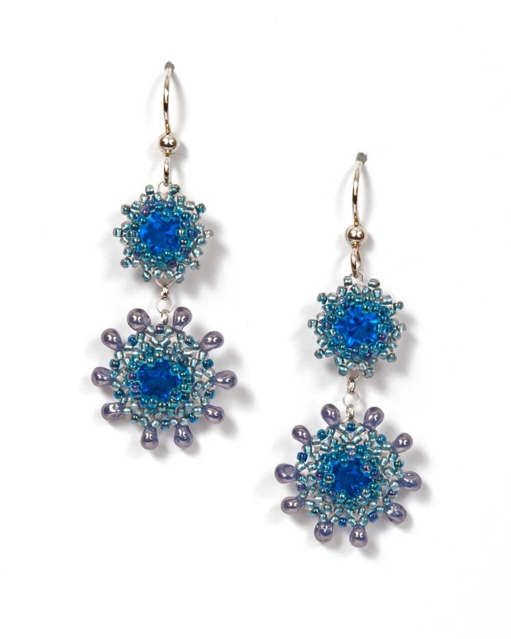 Swinging Starlets Earrings in Blue & Silver