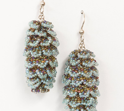 Pining Earrings in Teal and Champagne