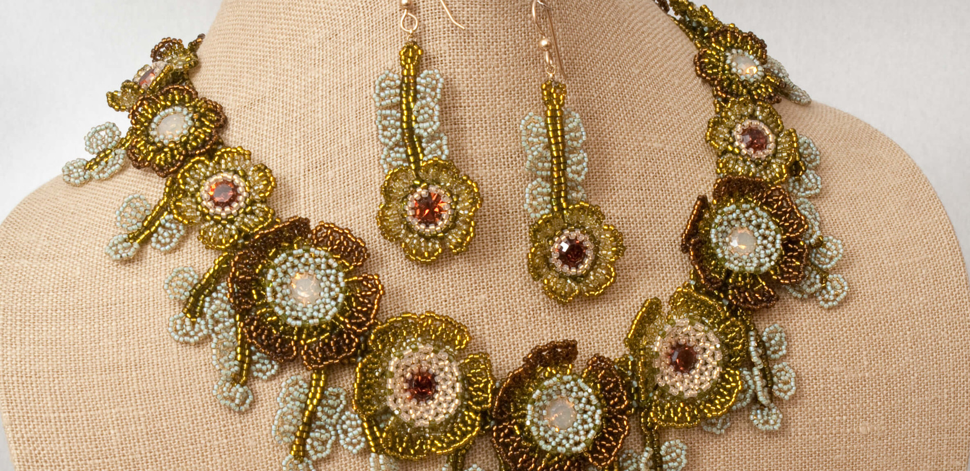 Flowers of The Field Necklace and Earrings in Lt Grey Opal and Smoked Topaz