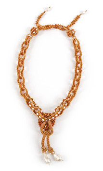 Labyrinth Necklace by Melanie Potter in Salmon & Topaz