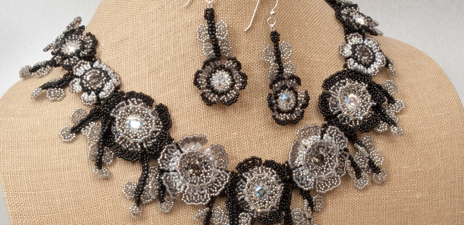 Flowers of The Field Necklace and Earrings in Crystal Moonlight and Black Diamond