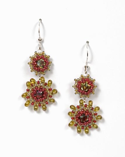 Swinging Starlets Earrings in Raspberry & Olivine