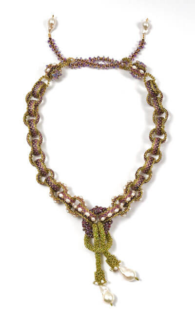 Labyrinth Necklace by Melanie Potter in Amethyst & Olive