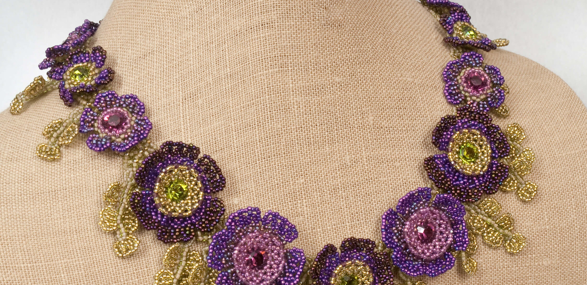Flowers of The Field in Oliveine and Amethyst