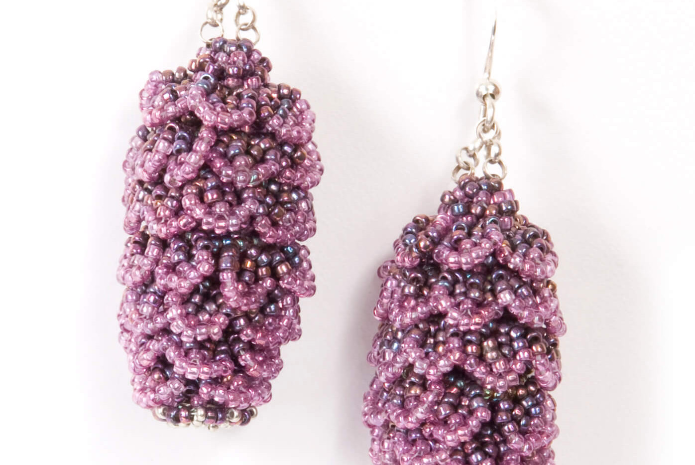 Pining Earrings in Olive and Amethyst