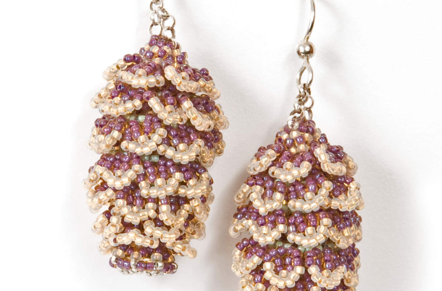 Pining Earrings in Mint and Amethyst