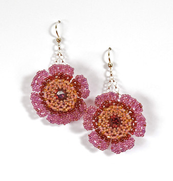 Wildflower Earrings in Indian Pink