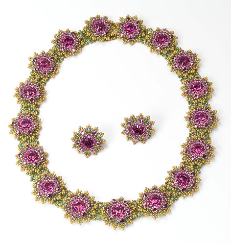 Flower Motif Necklace and Earrings