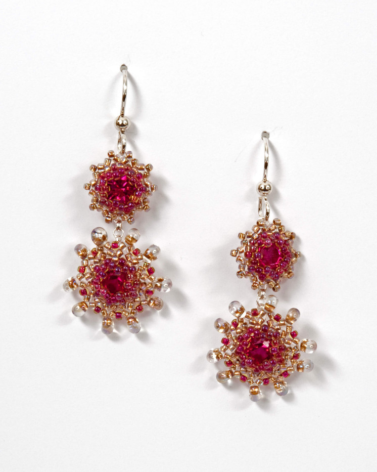 Swinging Starlets Earrings in Fuchsia & Champagne