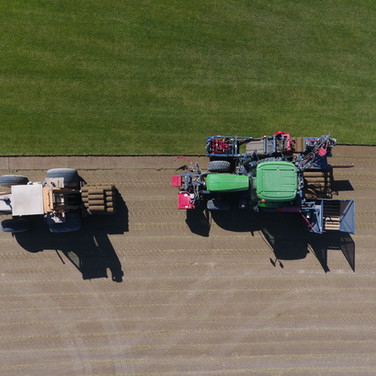 Aerial view of the sod rolls