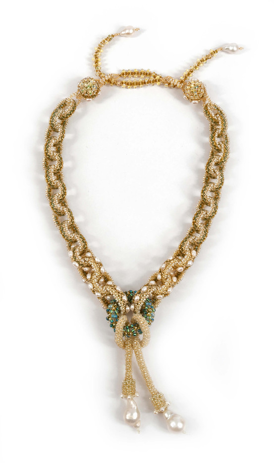 Labyrinth Necklace by Melanie Potter in Celery & Ivory