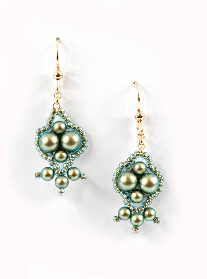 Pomponia Green Earrings