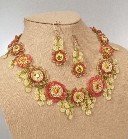 Flowers of The Field Necklace and Earrings in Lime and Topaz