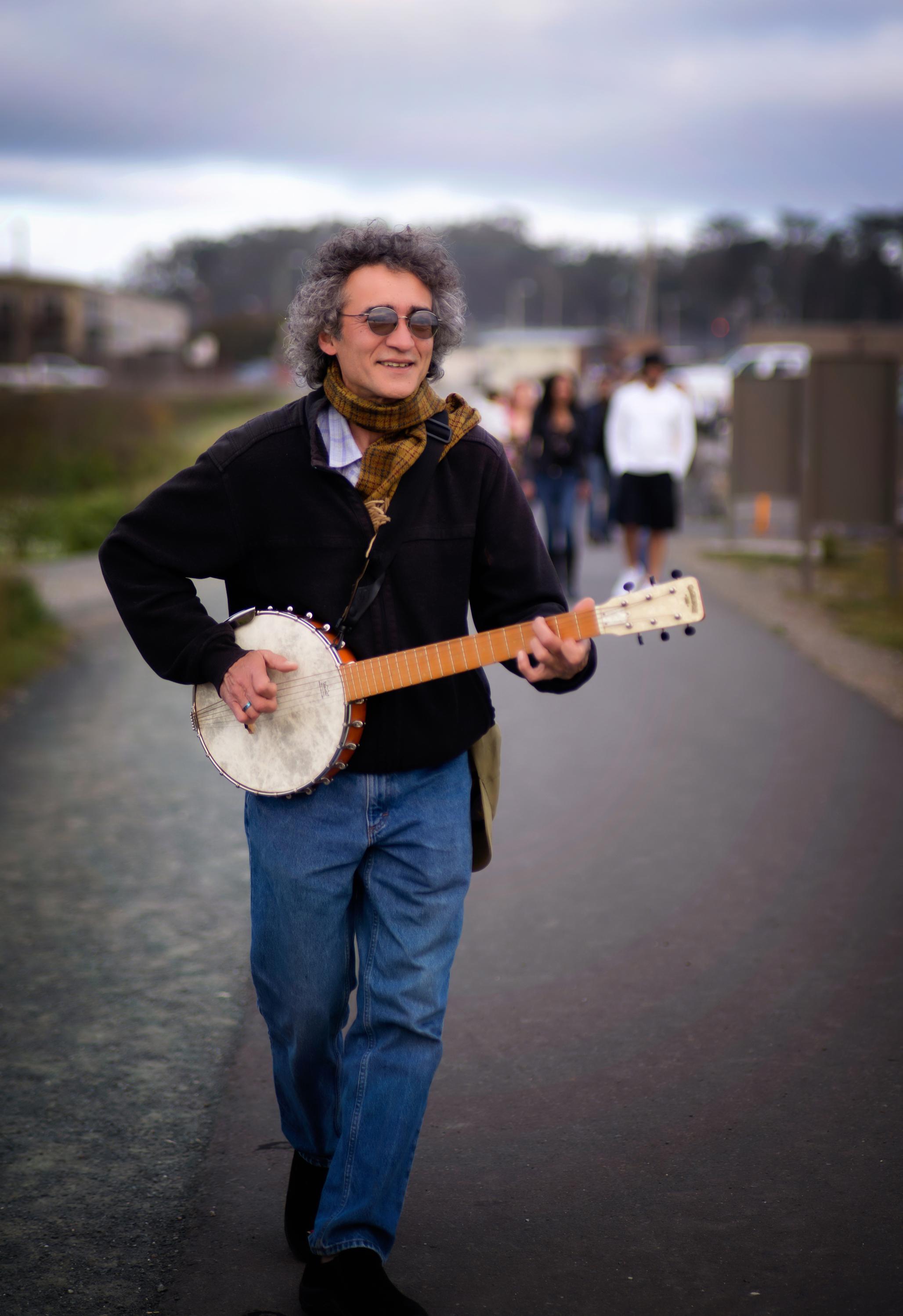 Man with a Banjo-Glass Beach-Fort Bragg-