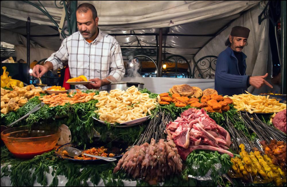 Food stalls at Jemaa El-Fna, Marrakech,