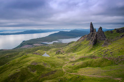 A view of Old Man of Storr and the Sound