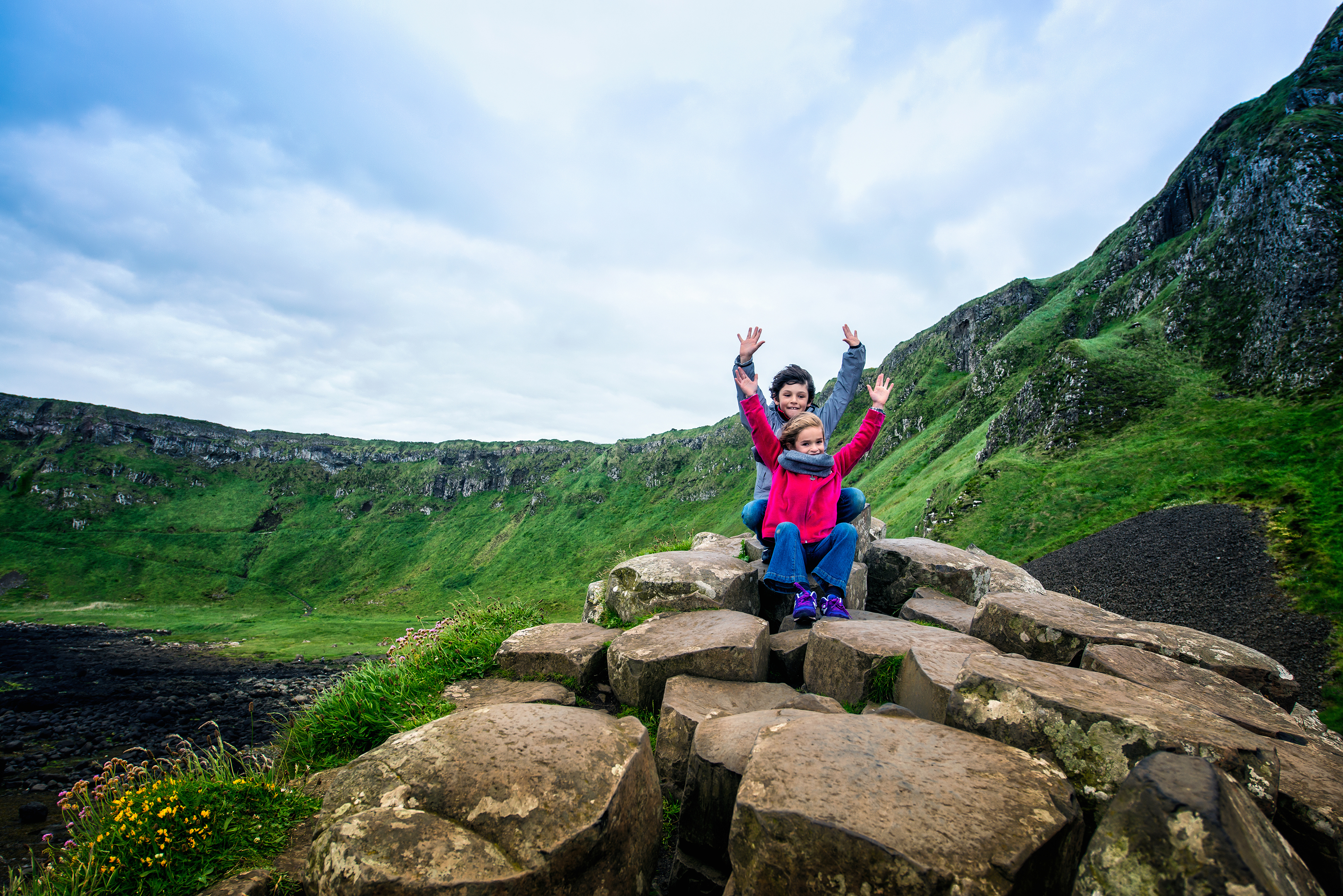 Happy Travelers at Giant's Causeway