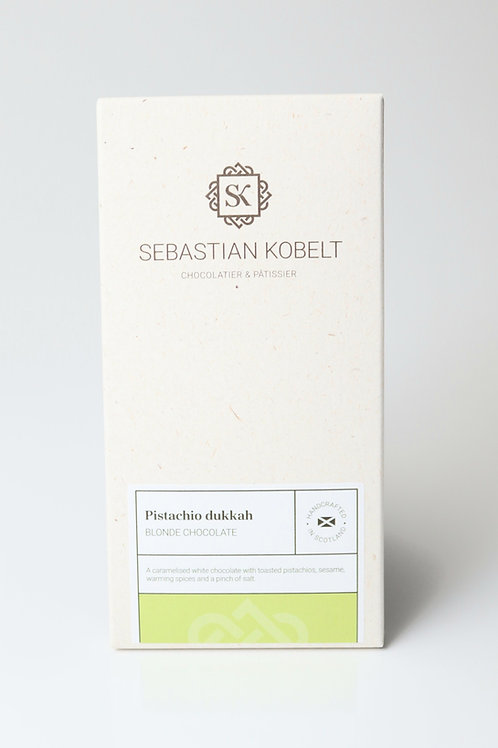 Blonde caramelised white chocolate with pistachio dukkah
