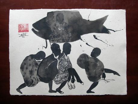 Ngo Hung Cuong 2010 Ink on Dó paper Mực trên giấy Dó